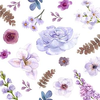 Conjunto aquarela roxa floral.
