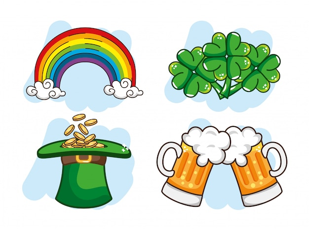 Conjunto arco-íris com moedas dentro st chapéu de st patrick e cerveja