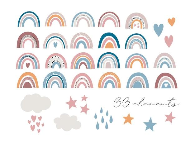 Conjunto arco-íris de bebê fofo