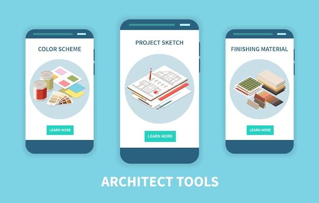 Conjunto arquiteto de três banners verticais para celular