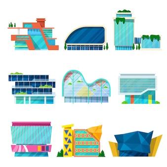 Conjunto arquitetônico de edifícios modernos de shopping center.