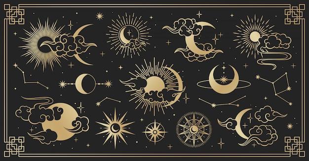 Conjunto asiático com nuvens, lua, sol e estrelas. coleção de vetores em estilo oriental chinês, japonês, coreano Vetor Premium