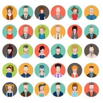 Conjunto avatares estilo plano homens mulheres profissão