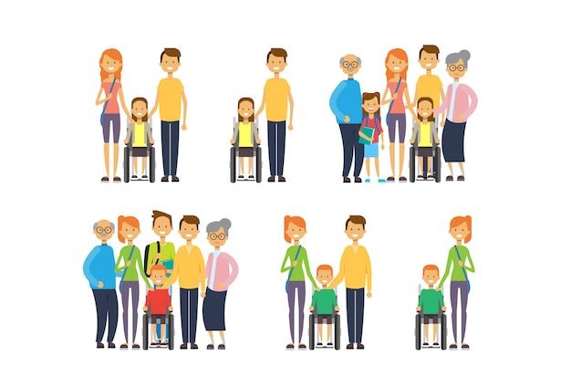 Conjunto avós pais filhos netos cadeira de rodas, família de várias gerações,