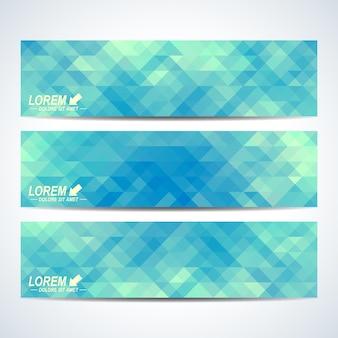 Conjunto azul de banners de vetor. fundo com triângulos azuis. cartão de banners da web, vip, certificado, presente, voucher. design elegante de negócios modernos.