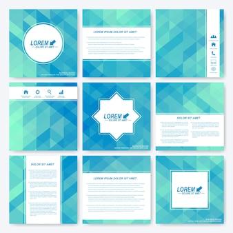 Conjunto azul de folheto de modelo quadrado