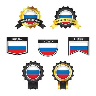 Conjunto bandeira da rússia e feito em etiquetas de distintivo de emblema de rússia