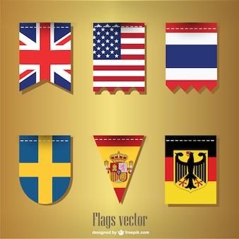 Conjunto bandeiras fita vetor
