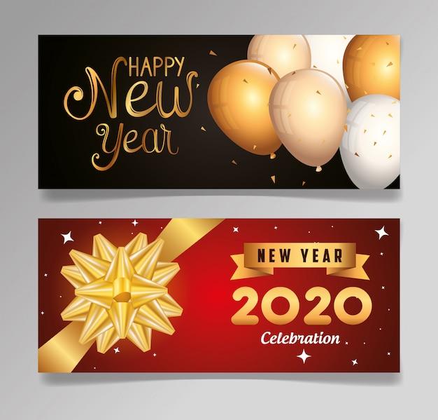 Conjunto banner de feliz ano novo 2020 com decoração