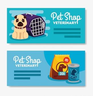 Conjunto banner de veterinária pet shop com cachorro e
