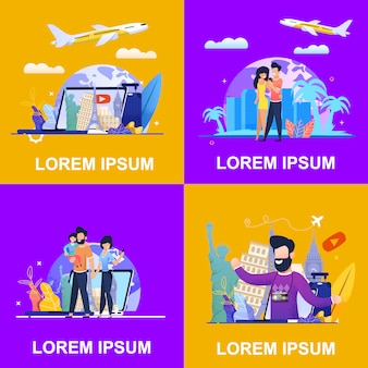 Conjunto banner ilustração publicidade travel company