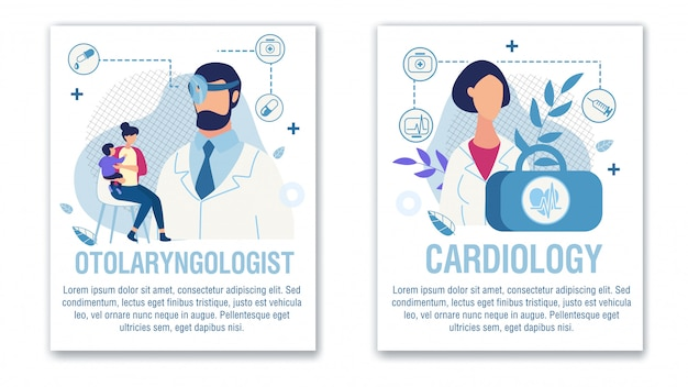 Conjunto banner oferta otorrinolaringologista cardiologista ajuda