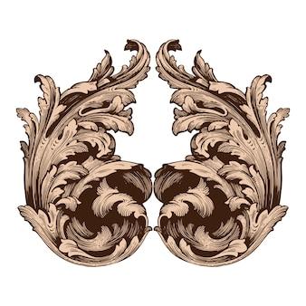 Conjunto barroco clássico de elementos vintage.