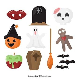 Conjunto básico de objetos de halloween