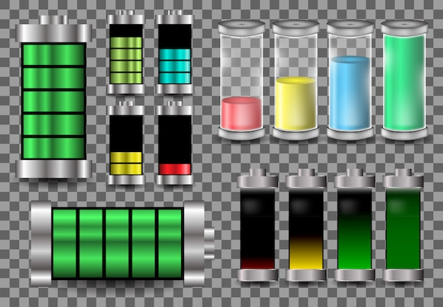 Conjunto bateria modelo vetor logotipo ilustração carga energia