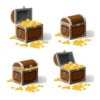 Conjunto baús de tronco pirata com tesouros de moedas de ouro.