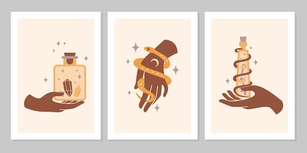 Conjunto boho místico de mãos femininas e símbolos, lua, cristal, cobra, estrela, vidro. ilustração plana mágica do vetor. sinais modernos e minimalistas para design de cosméticos, joias, produtos feitos à mão, plano de fundo