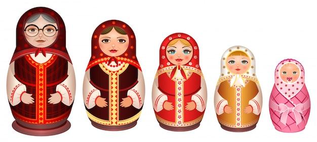 Conjunto boneca russa de madeira. lembrança retrô tradicional da rússia