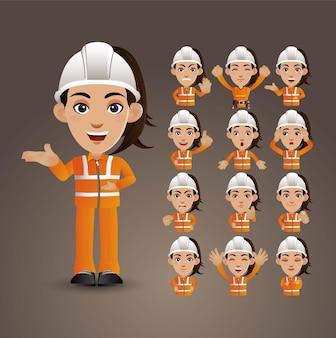 Conjunto bonito - conjunto de trabalhadores com emoções diferentes