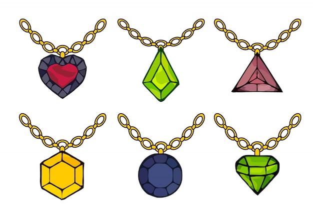 Conjunto bonito de diamantes. sinal de vetor de contorno de diamante.