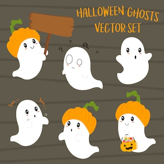 Conjunto bonito de fantasmas de halloween