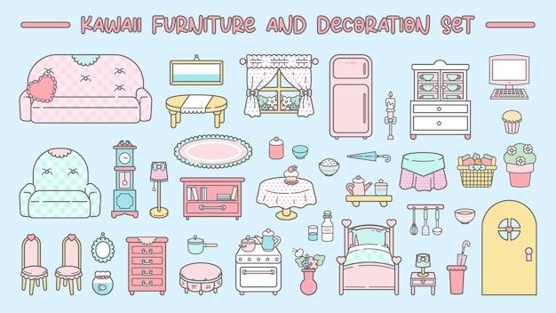 Conjunto bonito de móveis e decoração kawaii