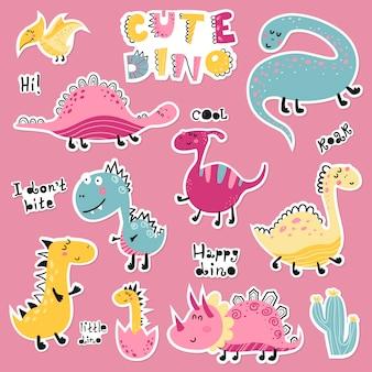 Conjunto bonito dos desenhos animados de adesivos de dino