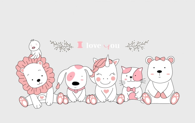 Conjunto bonito dos desenhos animados de animais