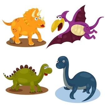 Conjunto bonito dos desenhos animados de dino