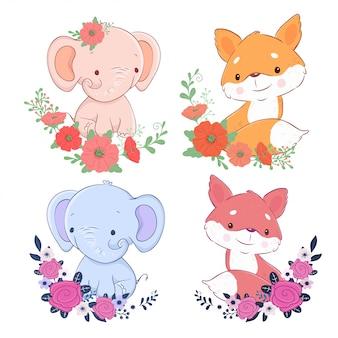 Conjunto bonito dos desenhos animados de elefante e raposa com flores. ilustração