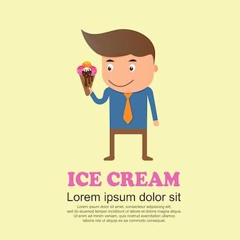 Conjunto bonito dos desenhos animados, homem e sorvete