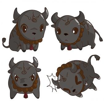 Conjunto bonito gordo búfalo tailandês fantasma dos desenhos animados.