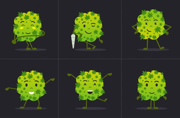 Conjunto bonito sorridente maconha maconha bud personagem de desenho animado em pé em diferentes poses maconha medicinal drogas consumo conceito horizontal plana