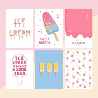 Conjunto bonitos cartazes com letras manuscritas de sorvete final estrelas