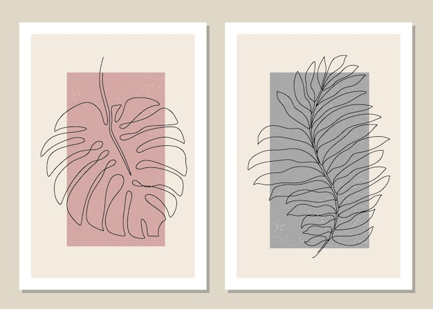 Conjunto botânico de arte de parede de folha tropical uma linha.