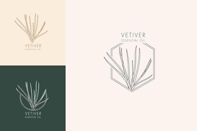 Conjunto botânico linear de vetor de ícones e símbolos - vetiver. design de logotipos para óleo essencial de vetiver. produto cosmético natural.