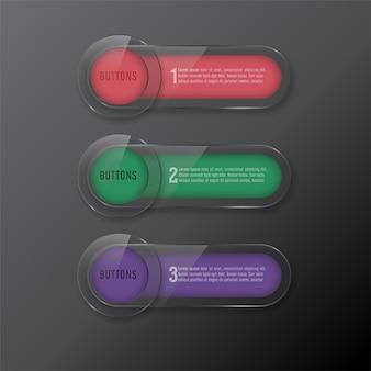 Conjunto botões web vidro cor vermelho e verde