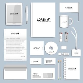 Conjunto branco de modelos de identidade corporativa