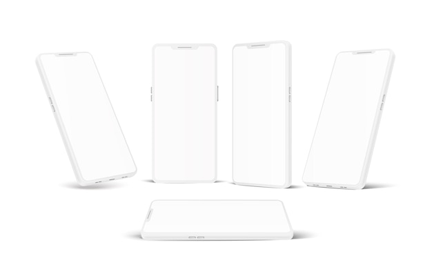 Conjunto branco realista sem moldura para smartphone