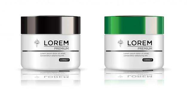 Conjunto branco redondo, frasco de plástico com tampa preta e verde para cosméticos