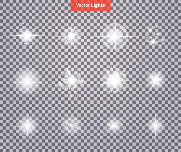 Conjunto brilha brilhante estrela luz fogos artifício