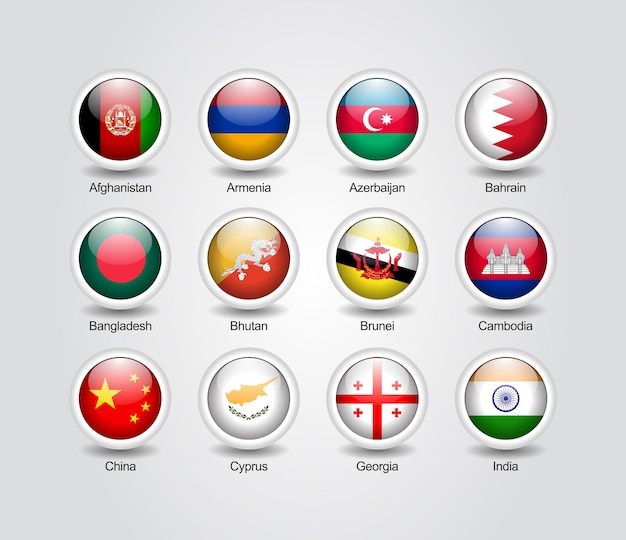 Conjunto brilhante de ícones 3d para bandeiras de países asiáticos
