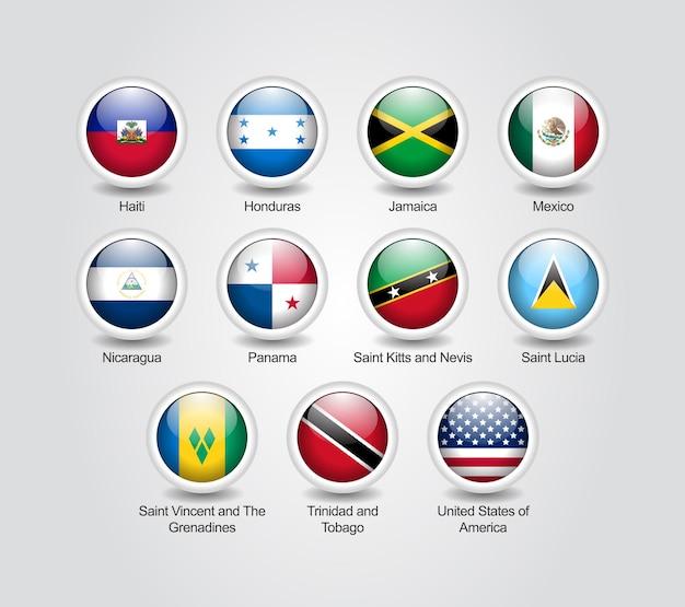 Conjunto brilhante de ícones 3d para bandeiras de países da américa do norte