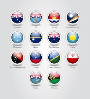 Conjunto brilhante de ícones 3d para bandeiras de países da austrália e oceania