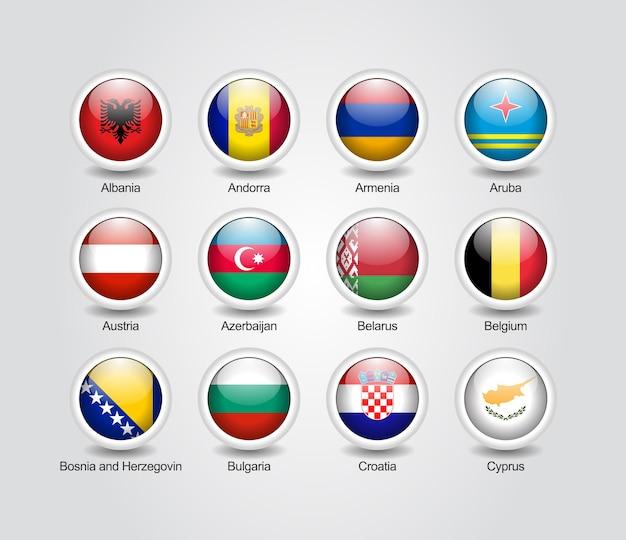 Conjunto brilhante de ícones 3d para bandeiras de países da europa