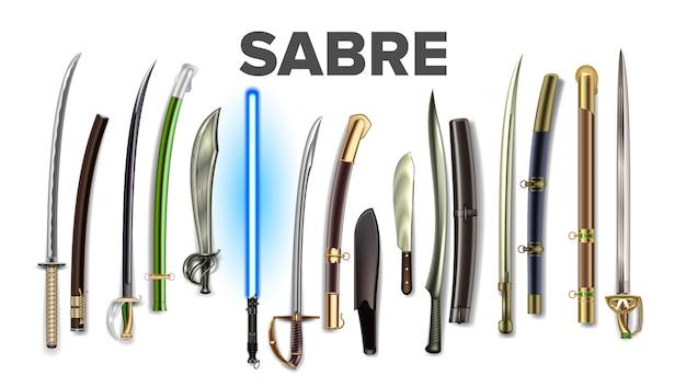 Conjunto brilhante de sabres antigos