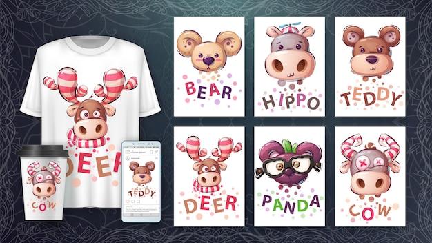 Conjunto cabeça de animal - cartaz e merchandising.