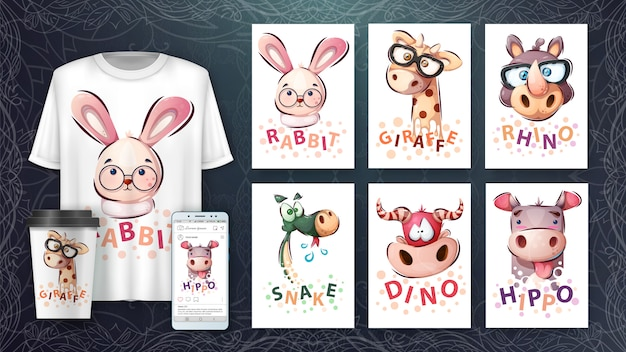 Conjunto cabeça de animal - ilustração e merchandising