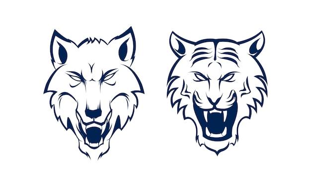 Conjunto cabeça de pacote desenho de mão zangada de tigre