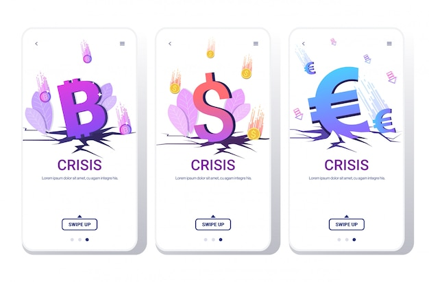 Conjunto caído no preço moeda caindo bitcoin dólar e euro moedas crise financeira falência investimento risco conceito telefone telas coleção horizontal cópia espaço
